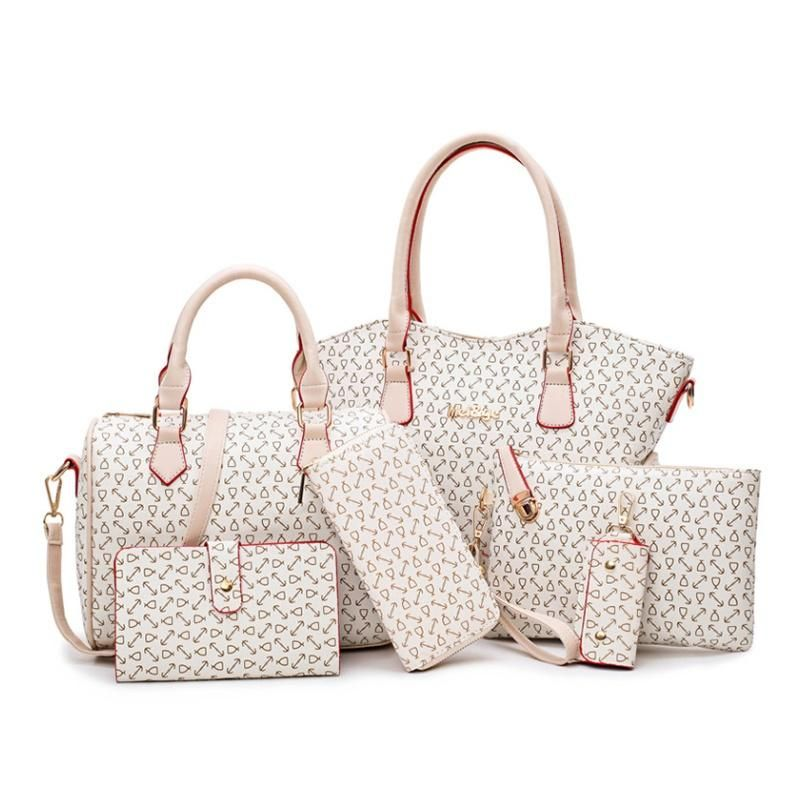 c72caaebc7dc 2018 New Women Bags Leather Handbags Fashion Shoulder Bag Female Purse High  Quality 6 Piece Set Designer Brand Bolsa Freya Safi