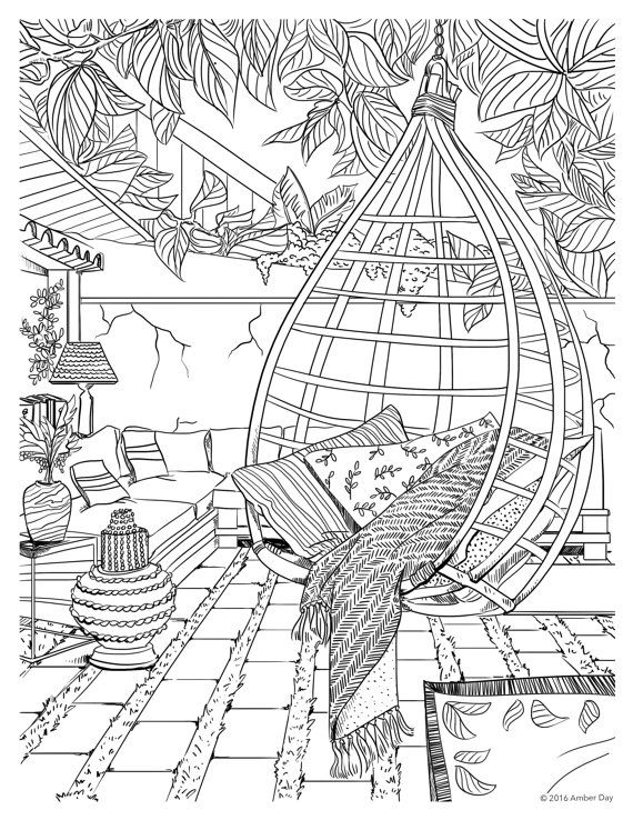 bohemian coloring pages - bohemian patio design adult coloring page how cool is
