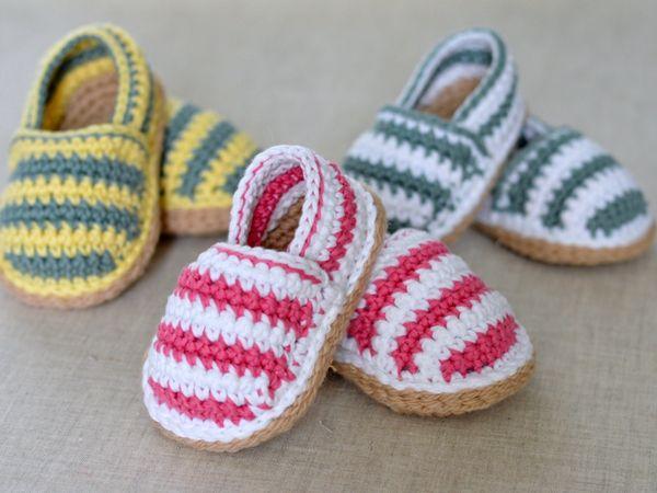 Stripy Espadrille Baby Shoes   Häkeln für baby, Häkeln baby und Haken