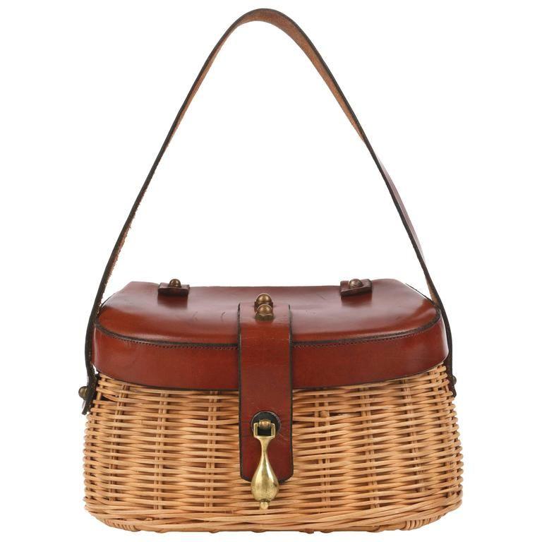 ETIENNE AIGNER c.1950 s Handmade Fishing Creel Wicker Purse Handbag RARE  f80c1d248069a