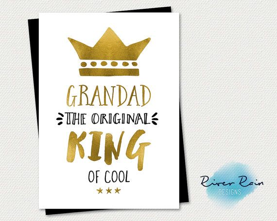 Printable Birthday Card Grandad the Original King of Cool – Download Printable Birthday Cards