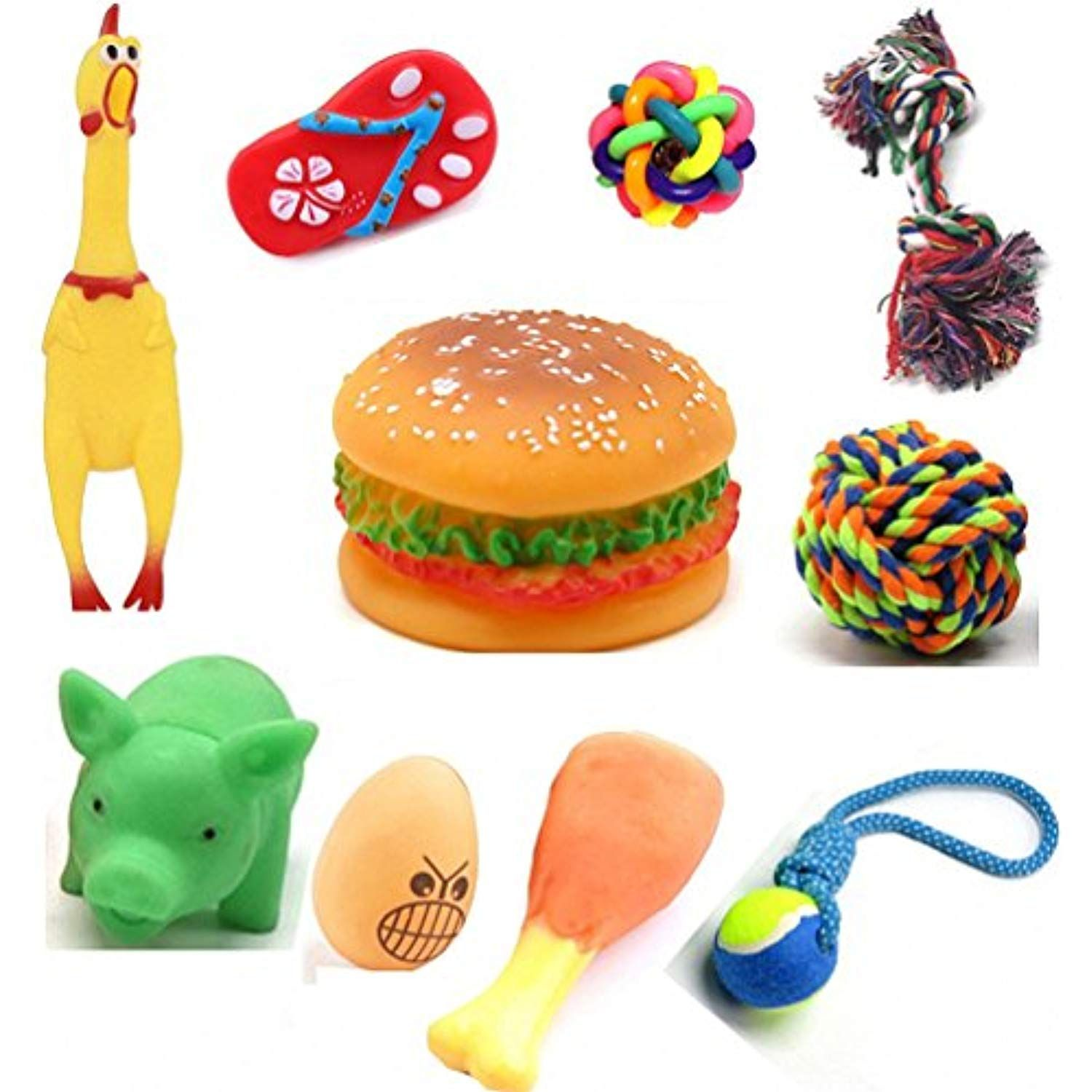 Drecratart 10 Different Toys Pack Rubber Durable And Squeaky
