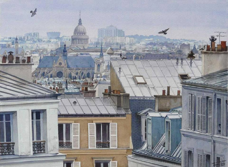 """Les toits de Paris après la pluie"", 2008 By Thierry Duval, French Watercolor Artist  original watercolor; 55 x 75 cm; 22 x 29.5 in. Private Collection"