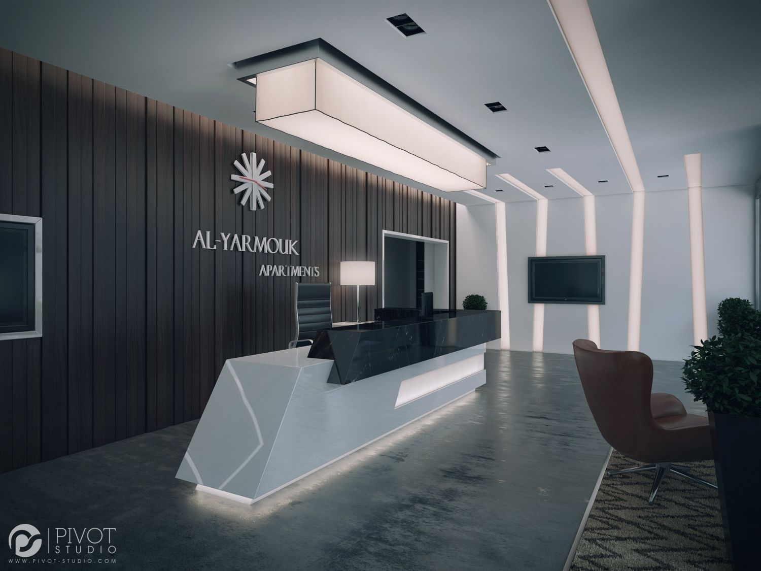 Interior design and 3d visuals of apartments building for Bureau reception
