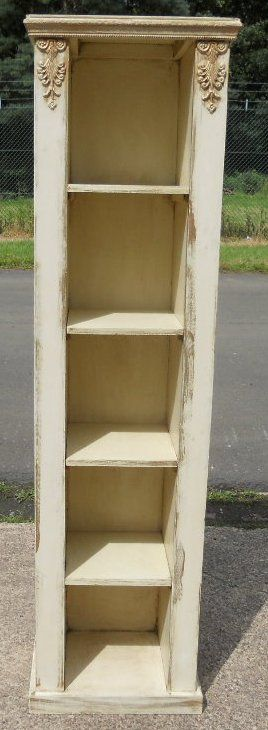 Shabby chic style painted tall narrow open bookcase cabinet This attractive  narrow painted open bookcase offers plenty of bookcase or display shelf