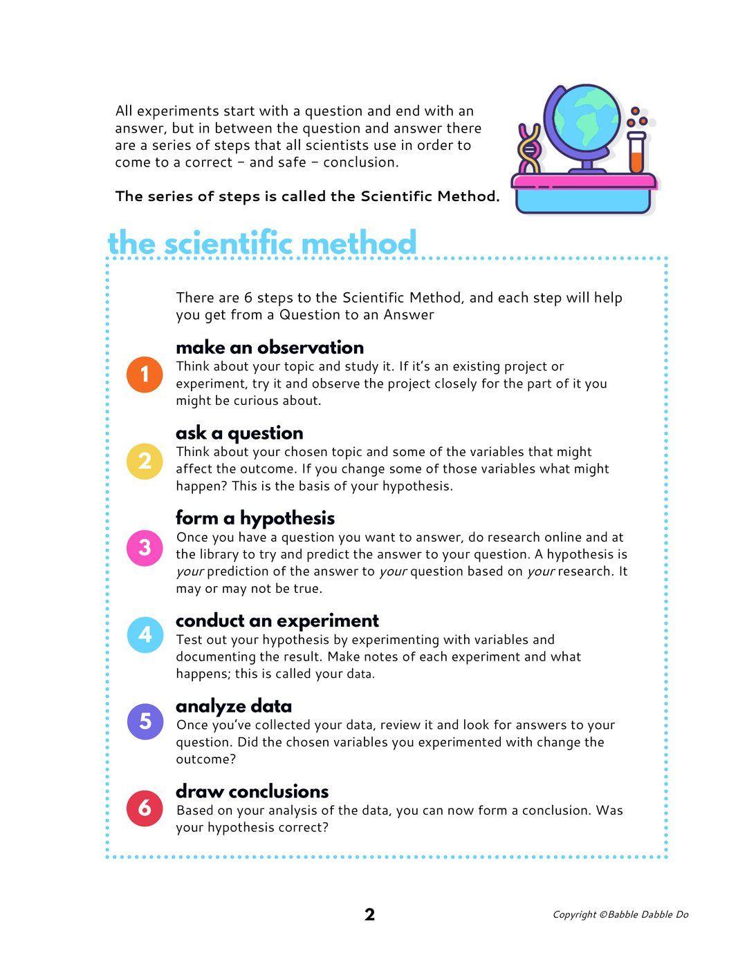 Science Fair Mini Guide For Kids Science Fair Scientific Method Vocabulary Scientific Method