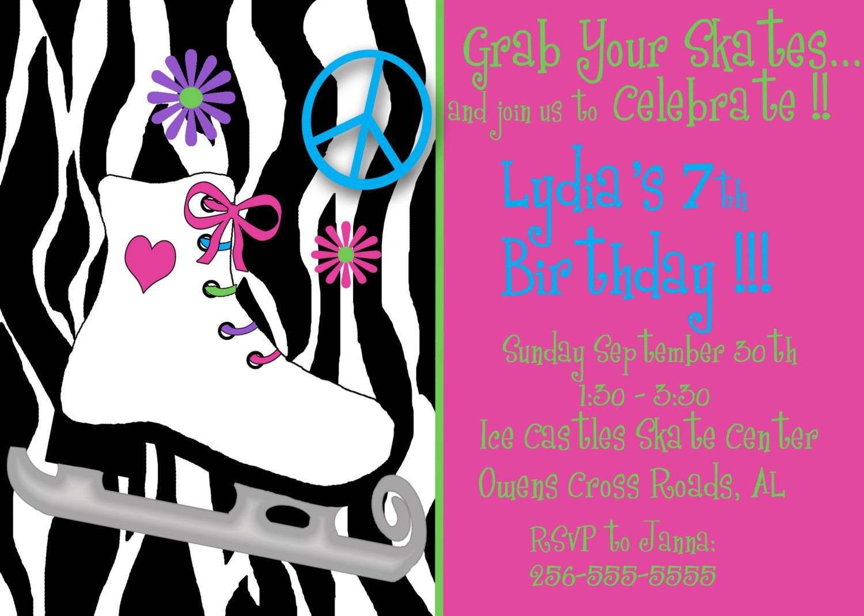 Roller Skating Birthday Party Invitations Free Printable ...
