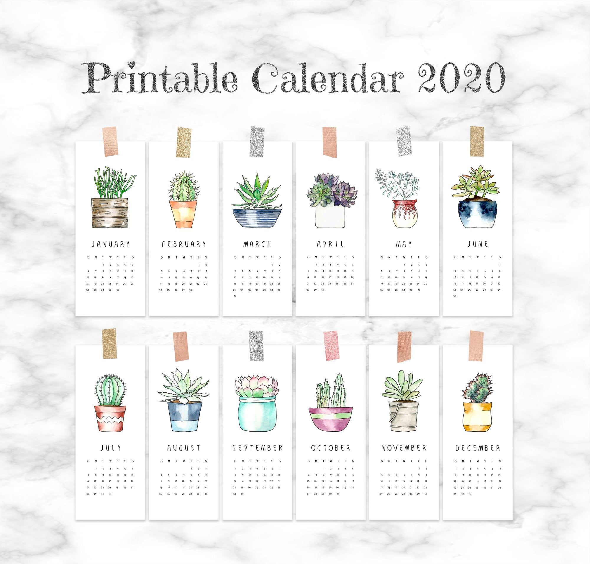 2020 Calendar Printable Pages Small Monthly Calendar 2020
