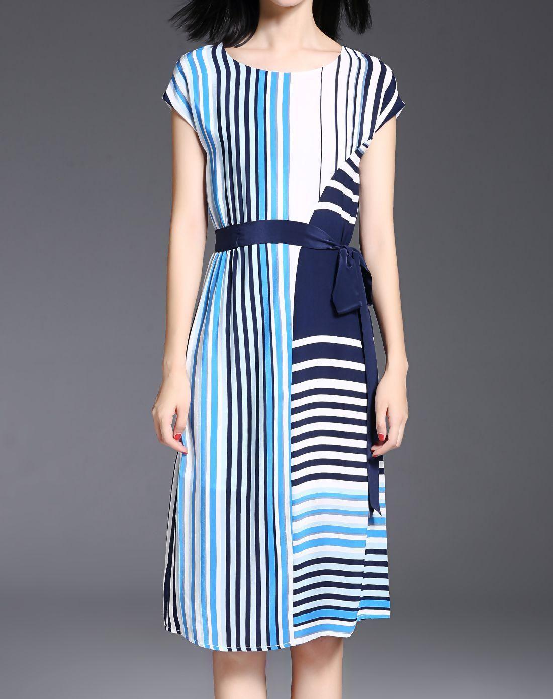Adorewe vipme vipshop global missshine blue silk paneled stirpes