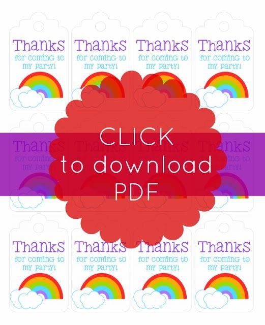 Free Printable Rainbow Theme Thank You Tag For Your Bag Of