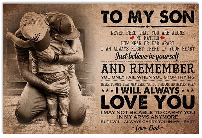 To My Son Never Feel That You Are Alone Canvas 0 75 1 5 In Framed Wall Decor Canvas Wall Art Prints Feelings Poster