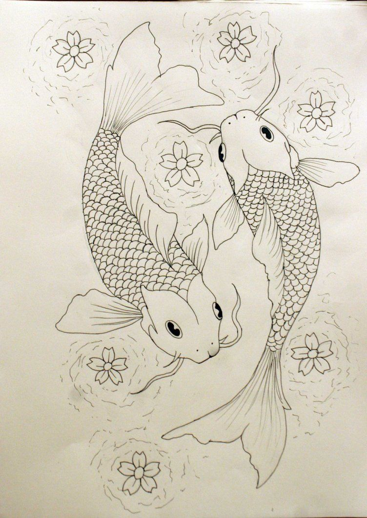 black/white drawing of 2 koi fish | Pisces Tattoo Outline by