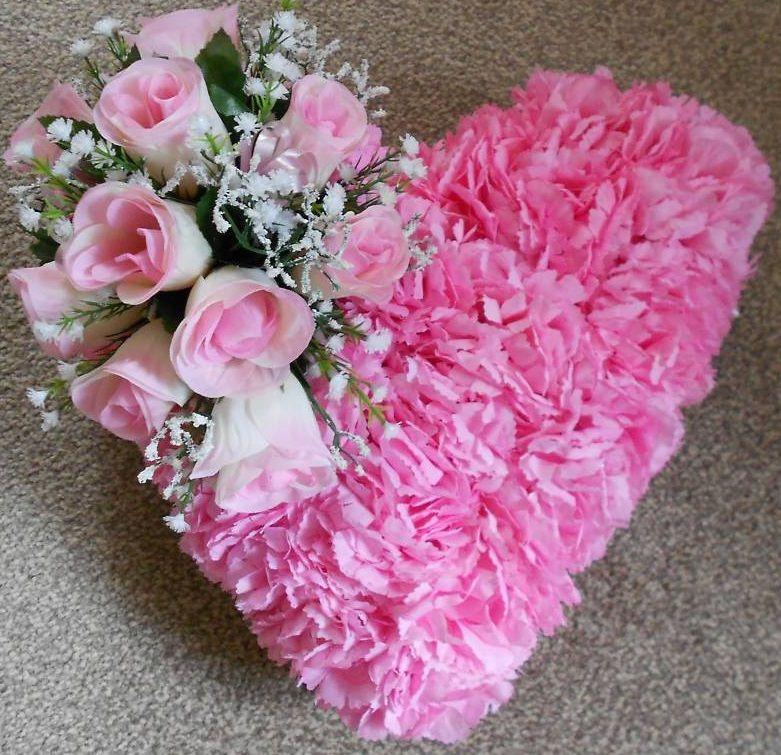 memorial day flower for grave artificial silk flower massed heart wreath