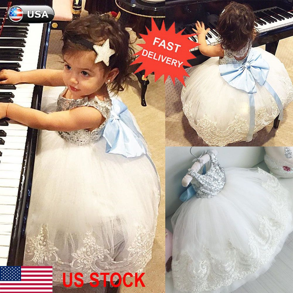 Princess baby kids girl bowknot lace floral dress christmas party