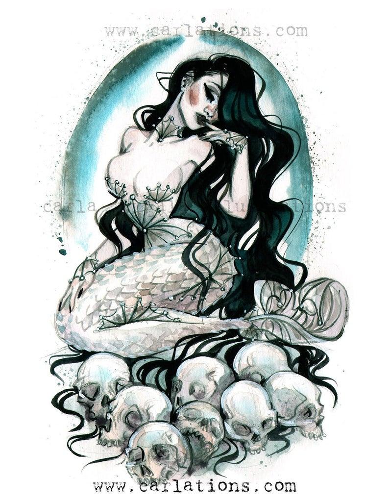 Skull Moon Goth Pin Up Girl Mermaid watercolor painting Giclee | Etsy