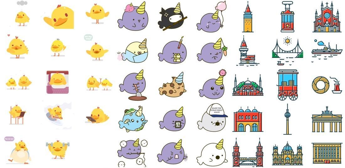 Selección de Stickers recientes para iMessage con patos
