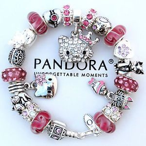 50fbf093d pandora hello kitty charm | ... -Pandora-Bracelet-Pink-Crystal-Hello-Kitty -Princess-Heart-Charm-Bead: