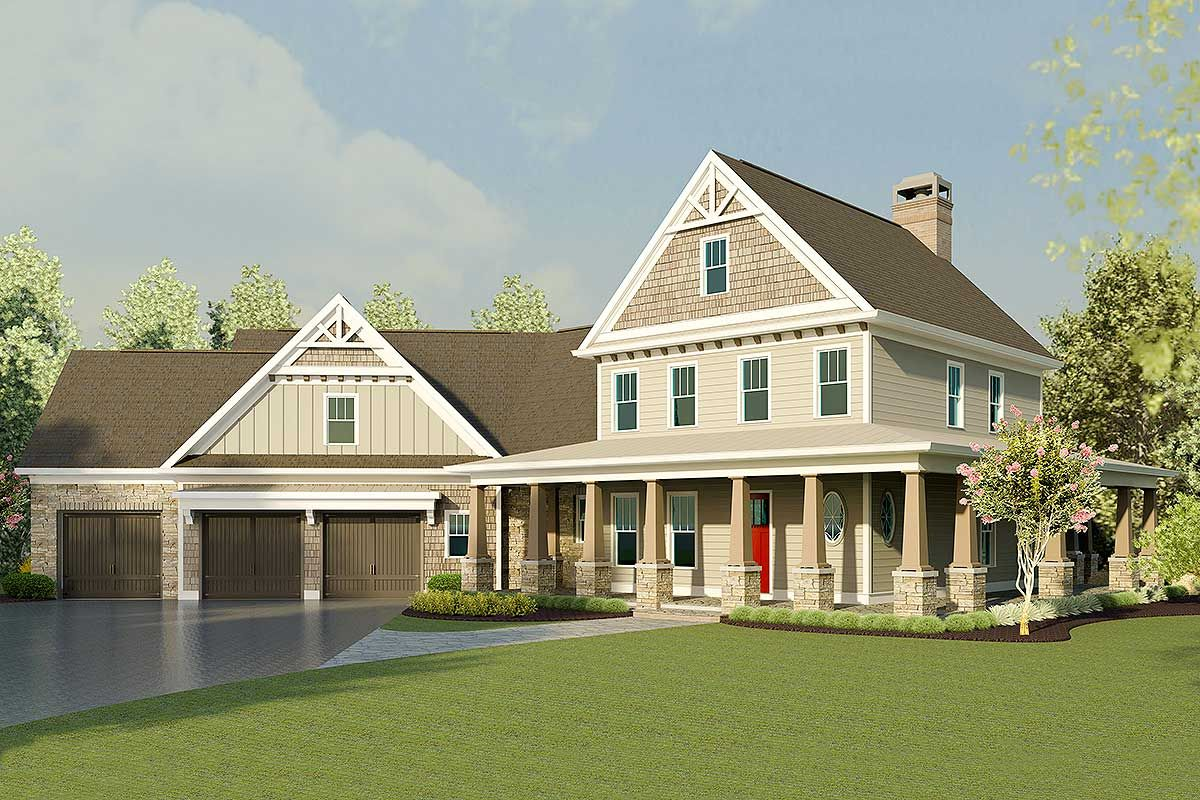 Plan dk bed farmhouse home plan with wraparound porch and