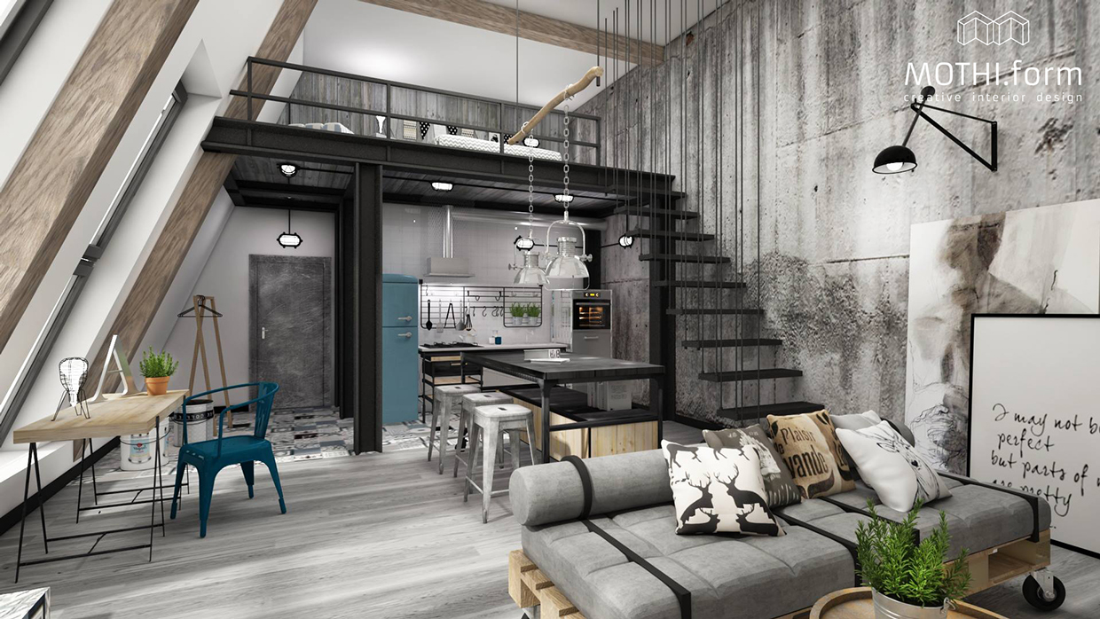 2 industrial apartment interior design that will inspiring for Loft apartment interior design