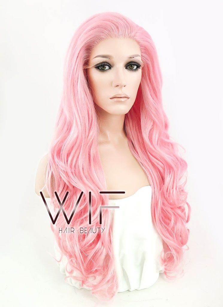 Pastel Pink Wavy Lace Front Synthetic Wig LF084 Wigs