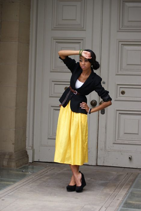 This is what my yellow skirt might look like if I paired it with my black jacket and belt.