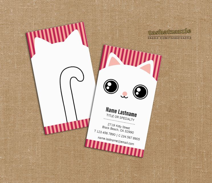 cute white kitty cat face striped business card business cards
