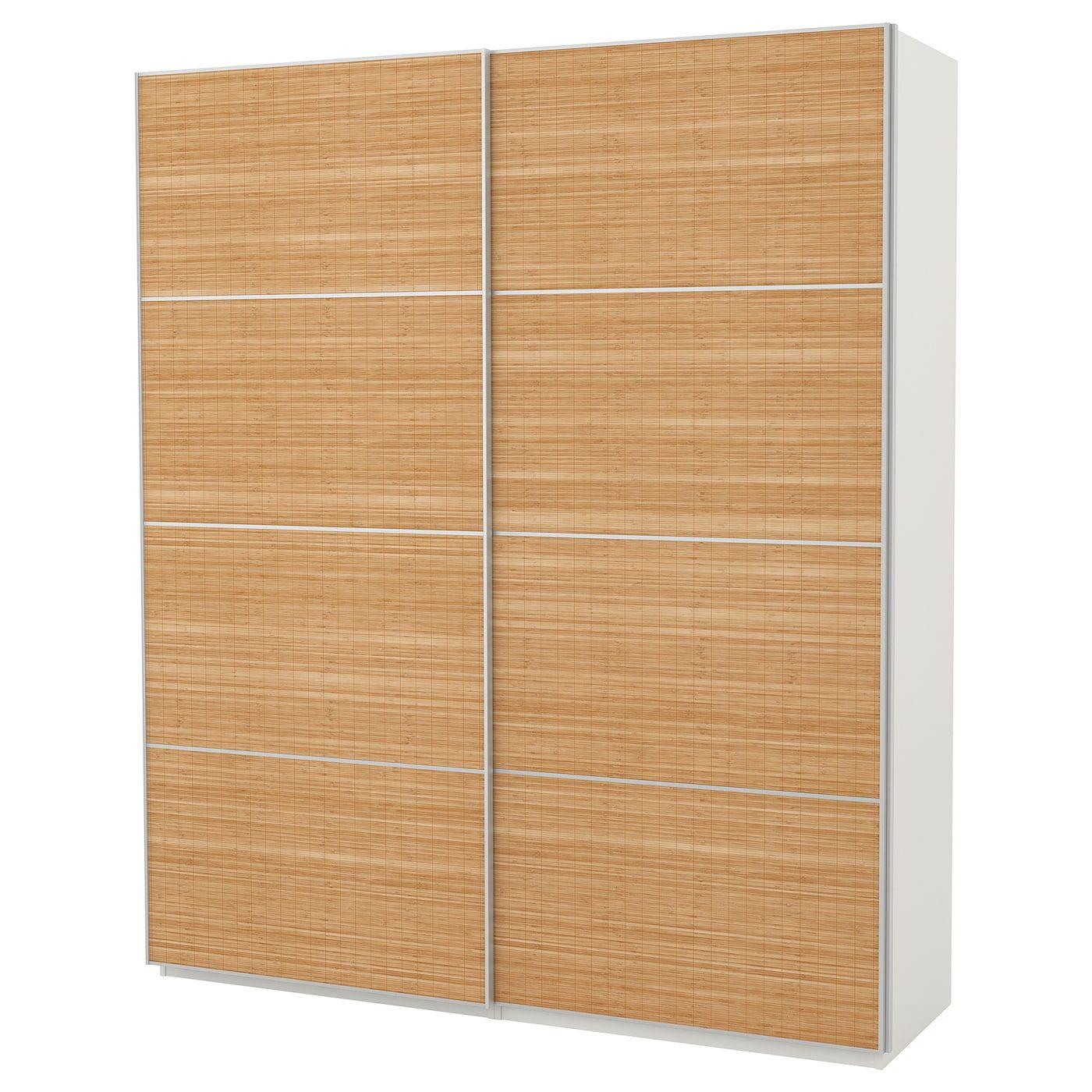 Fjellhamar 4 Panneaux Pr Pte Coul Bambou Double Face 75x236 Cm Ikea Pax Wardrobe Sliding Doors Door Frame