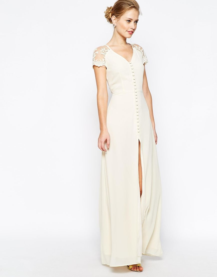 Image 4 of Jarlo Lucia Button Through Maxi Dress With Lace Shoulders ...