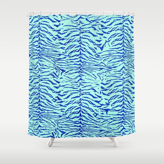 Light Blue Glitter Tiger Print Shower Curtain