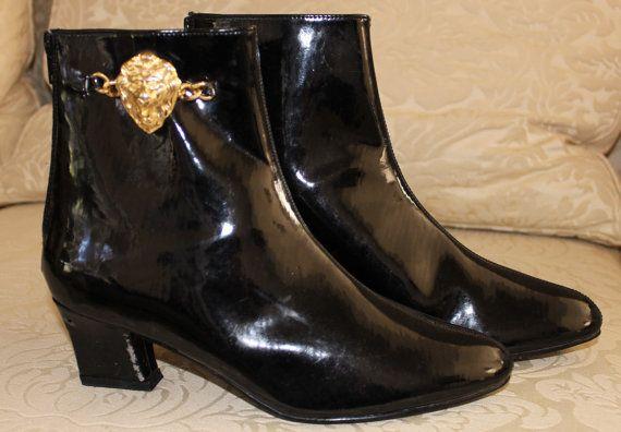 Vintage Women39s Black Patent Ankle Boots Lion Head Euro