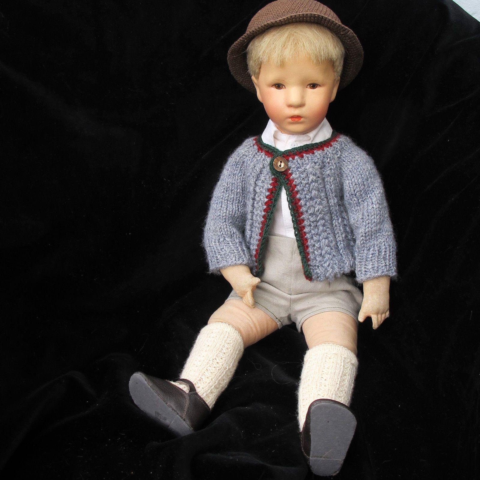 Käthe Kruse Friedebald 30er/40er Jahre Stoffkopf, Echthaar handgenüft in Antiquitäten & Kunst, Antikspielzeug, Puppen & Zubehör   eBay!