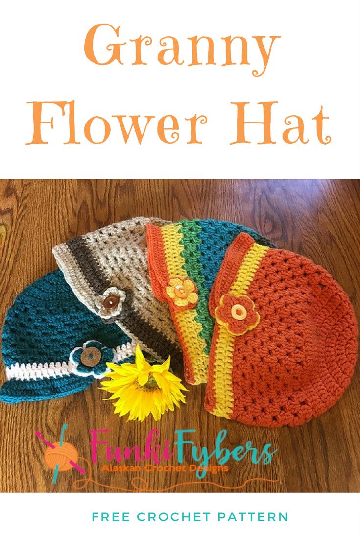 Free Crochet Pattern - Granny Flower Hat, This pattern fits teens ...
