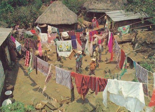 colorful village laundry