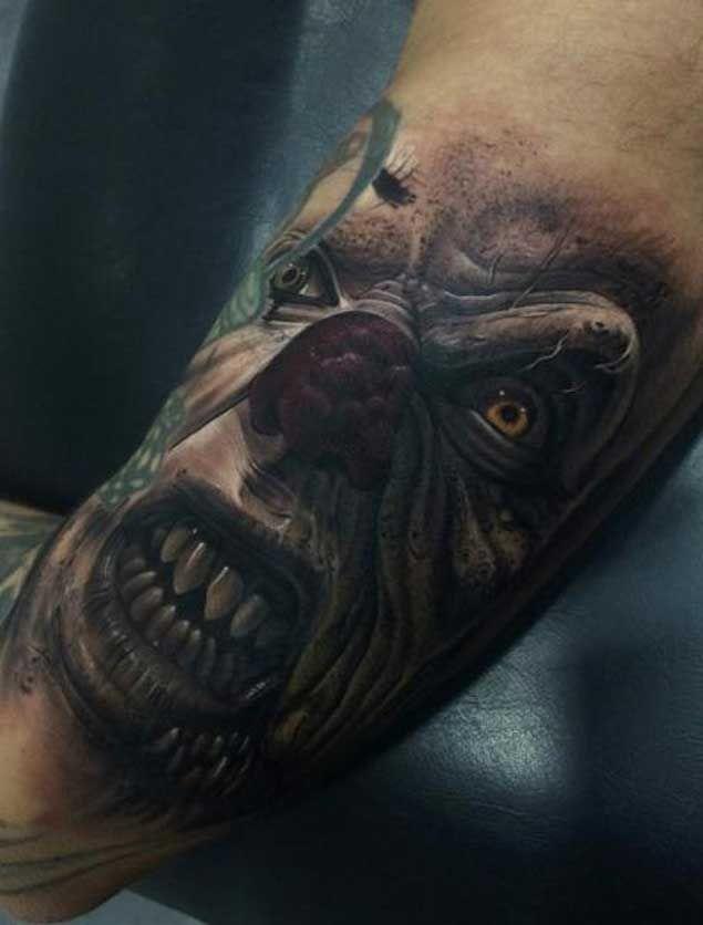 fe622e8c3 20 Horrifying Clown Tattoos That Will Haunt Your Dreams | — Tattoos ...