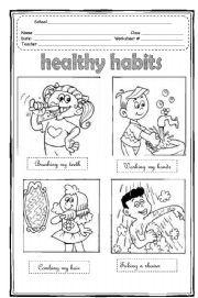 English teaching worksheets: Healthy habits | Education | Pinterest