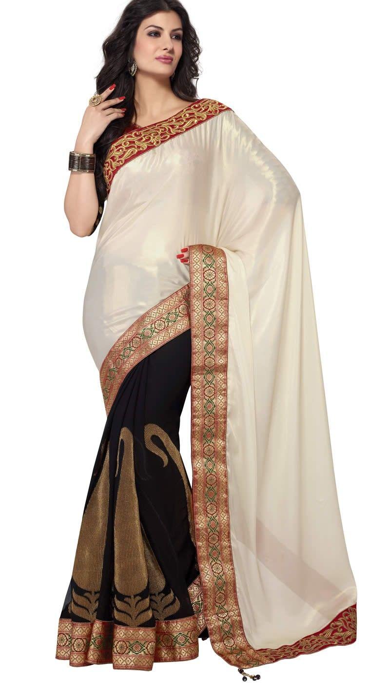 Black colour saree images off white and black colour satin shimmer designer party wear saree