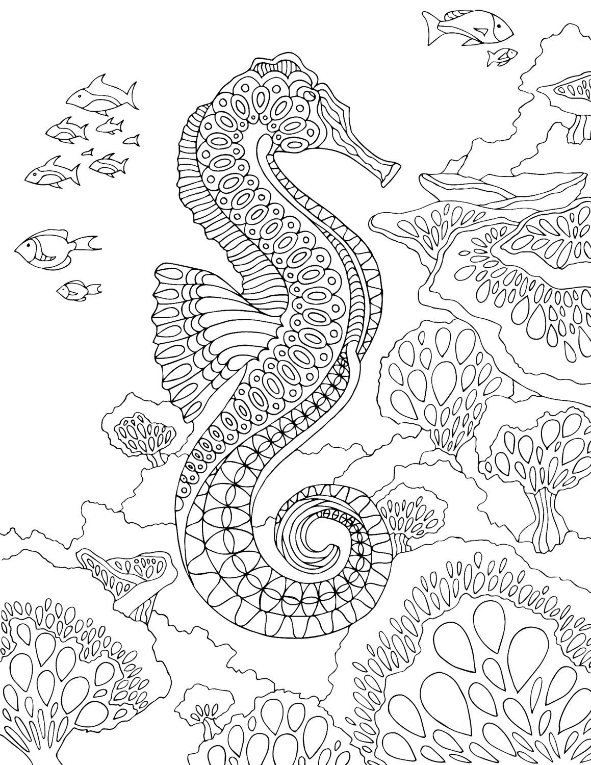 Seahorse - PDF Zentangle Coloring Page - Therapy Coloring - Under ...