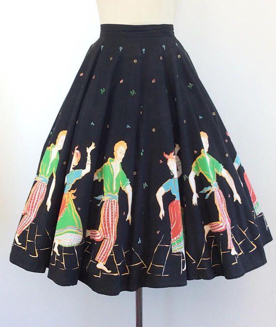 1950/'s Size Medium BATIK Boarder Print Black Full Circle Skirt