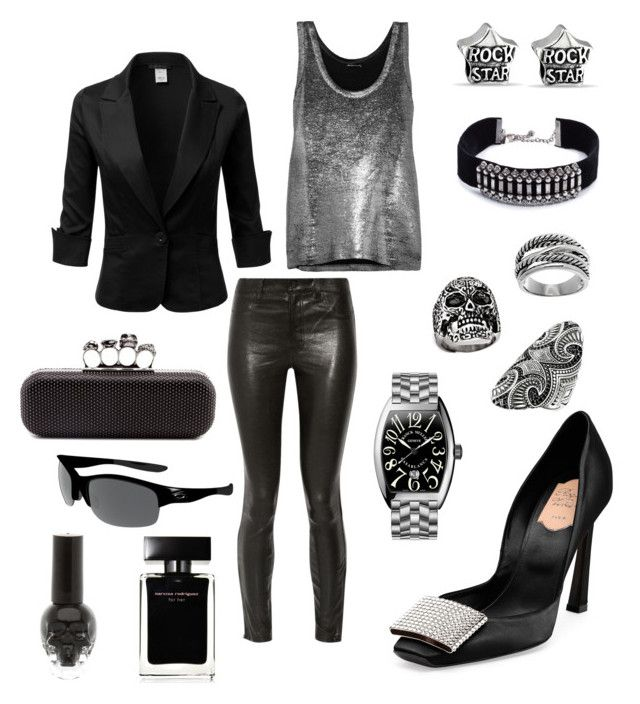 """Rock star mood"" by pinnulinen on Polyvore featuring Roger Vivier, Franck Muller, J Brand, Alexander McQueen, Ann Demeulemeester, Bling Jewelry, DANNIJO, Thomas Sabo, Oakley and Lord & Taylor"