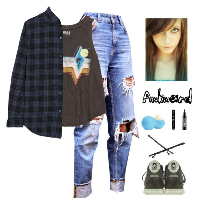 """""""Punk and Awkward as Crap"""" by shinedownsiren ❤ liked on Polyvore featuring Billabong, Current/Elliott, Converse, Goody, Eos, Hard Candy and Ardency Inn"""