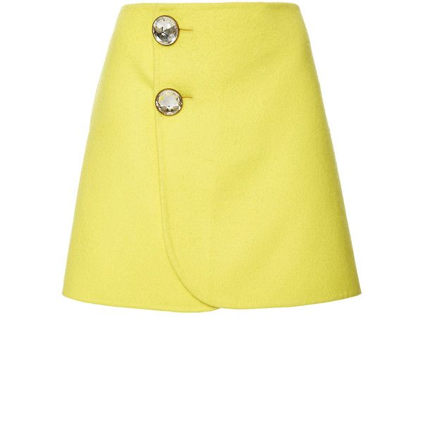 Marni Yellow Embellished Mini Skirt (18.630.160 IDR) ❤ liked on Polyvore featuring skirts, mini skirts, short wrap skirt, high-waist skirt, mini skirt, a line mini skirt and high waisted skirts