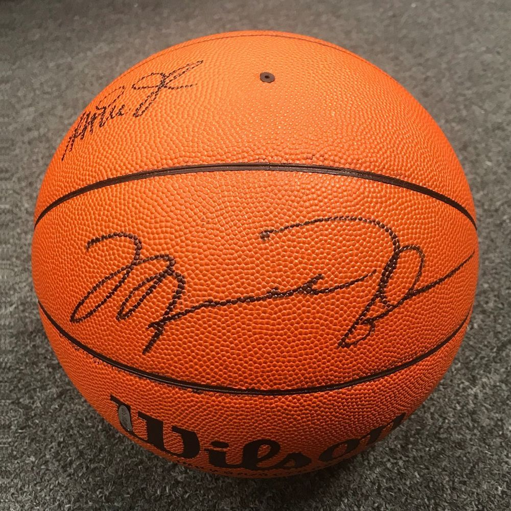 54b5a4b321d1 Michael Jordan   Magic Johnson Signed Full Size Basketball BAS UDA Hologram  ONLY  michaeljordan  autographs
