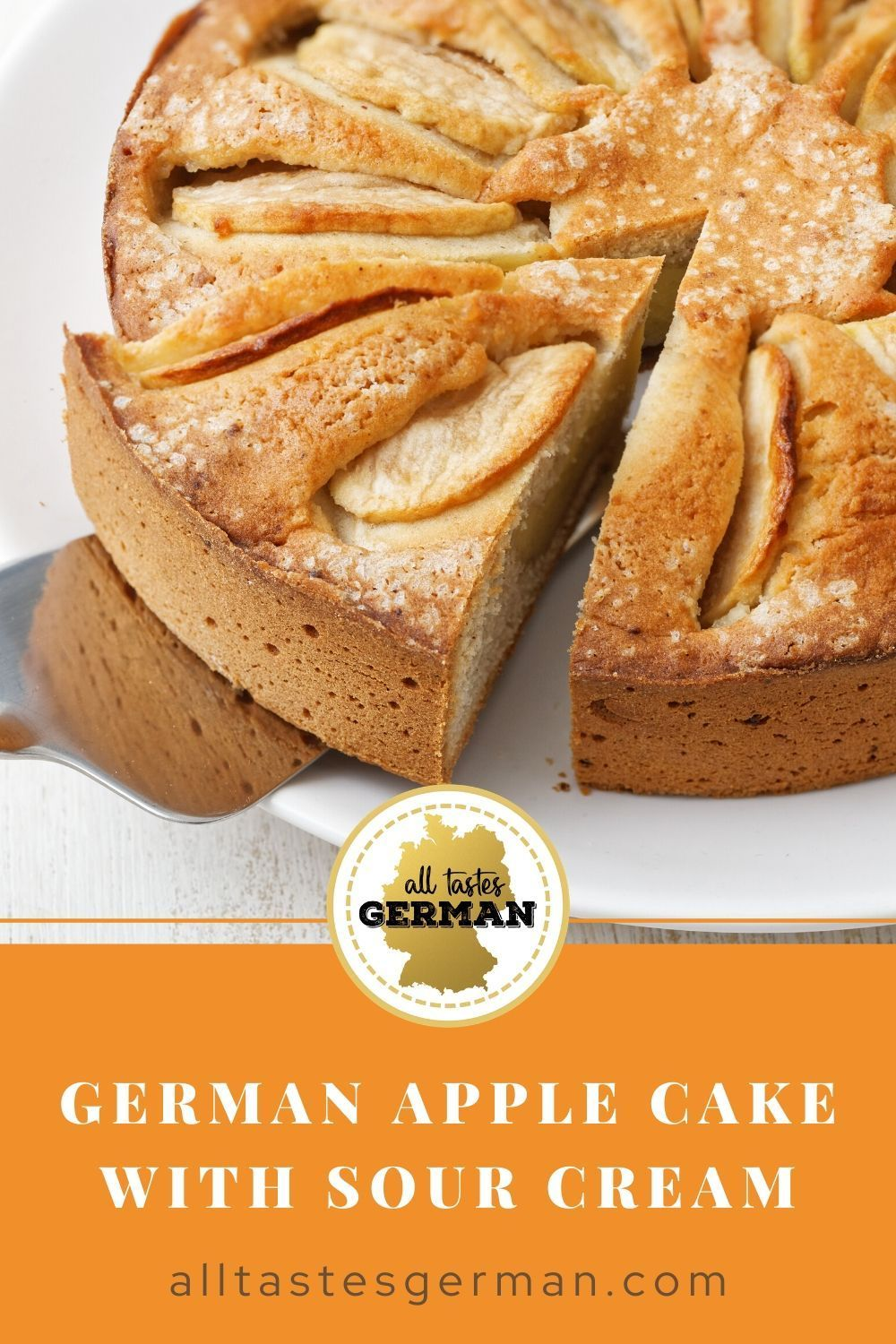 German Apple Cake With Sour Cream In 2020 German Apple Cake Sour Cream Cake Apple Cake
