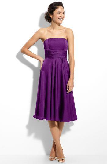 Purple Strapless Tea Length Dress