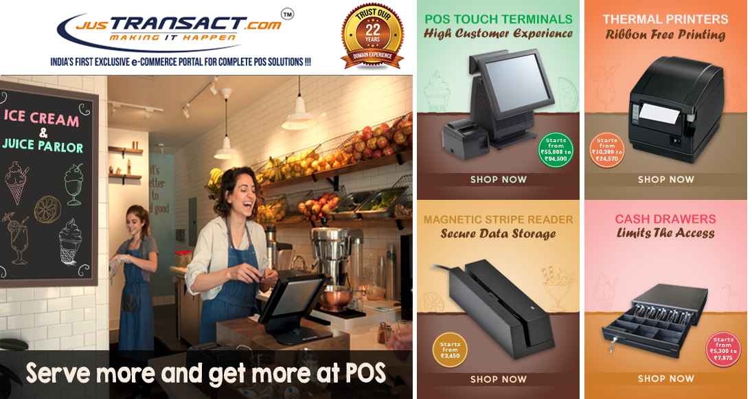 Let #POS technology handle peak hour rush to serve more customers. Get best billing machines and accessories from JusTransact. For more details contact http://bit.ly/2bVZm2P