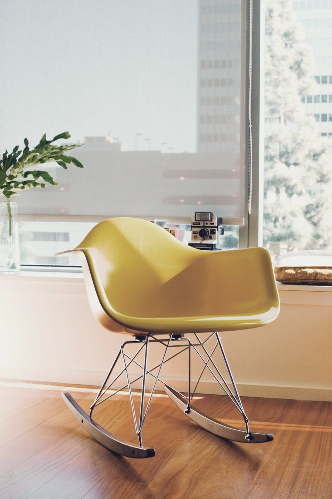 Yellow Rocking Chair Fiberglass Material Smart Modernica Furniture