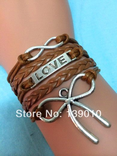Silver Charm Autism Awareness Bow Bracelets Fashion Brown Leather Rope Friendships Women Men Love Infinity Jewelry Price 2 98 Free Shipping