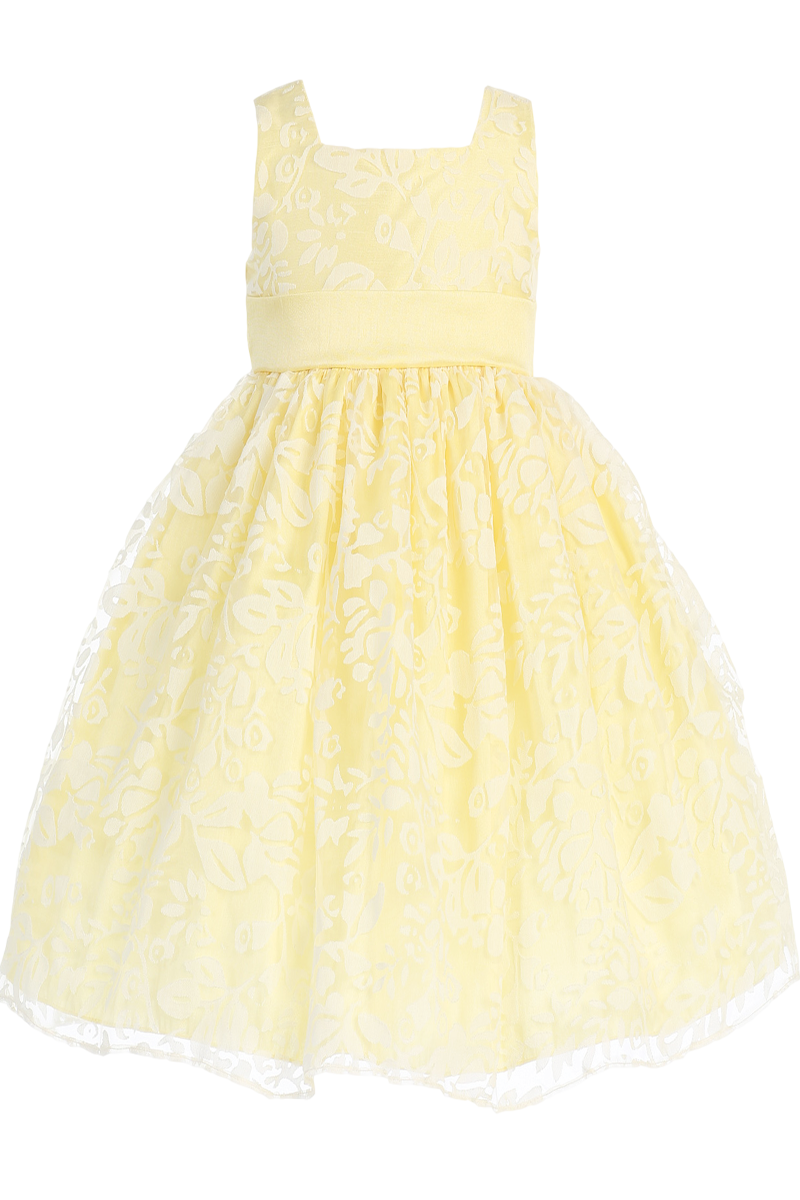50a159a0210d Yellow Satin Spring Dress with Burnout Organza Overlay (Baby ...
