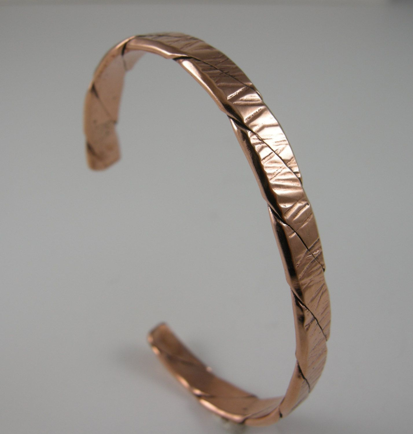 BRACELET SOLID COPPER Heavy 12 Gauge twisted wire 1/4 inch wide ...