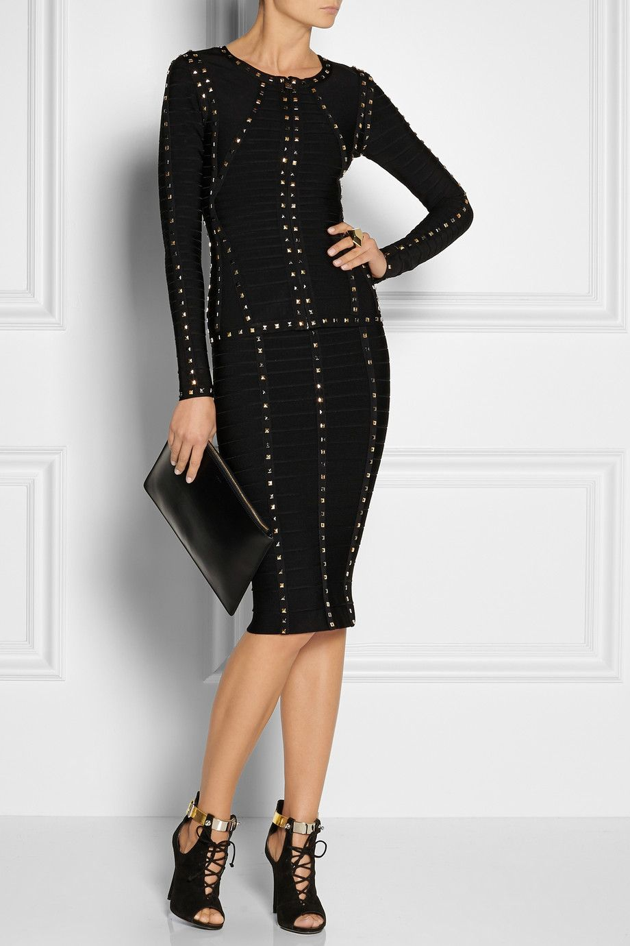 Herve leger black bandage jacket and skirt with rhodium and gold